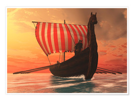 Poster  A Viking longboat sails to new shores - Corey Ford