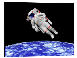 Tableau en aluminium  Astronaut floating in outer space above planet Earth. - Elena Duvernay