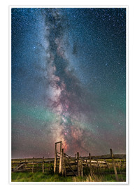 Poster Milky Way over an old ranch corral.