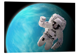 Tableau en aluminium  Artist's concept of an astronaut floating in outer space by a water covered planet. - Marc Ward