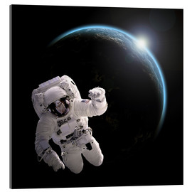Tableau en verre acrylique  Astronaut floating in space as the sun rises on to Earth-like planet. - Marc Ward