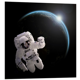 Forex  Astronaut floating in space as the sun rises on to Earth-like planet. - Marc Ward
