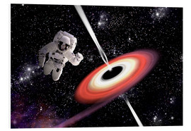 Tableau en PVC  Artist's concept of an astronaut falling towards a black hole in outer space. - Marc Ward