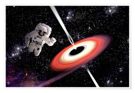 Poster Artist's concept of an astronaut falling towards a black hole in outer space.