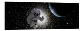 Tableau en PVC  Astronaut floating in deep space with an Earth-like planet in background. - Marc Ward