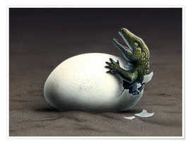 Poster  An early dinosaur ancester, Seymouria, hatches from an egg. - Jerry LoFaro