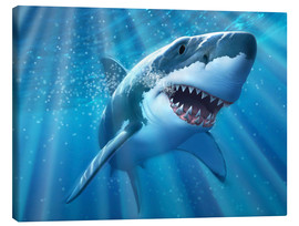 Toile  A Great White Shark with sunrays just below the surface. - Jerry LoFaro