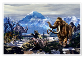 Kurt Miller - Neanderthals approach a group of Machairodontinae feeding with a herd of Woolly Mammoths.