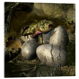 Verre acrylique  Udanoceratops hatching out of an egg. - Kurt Miller