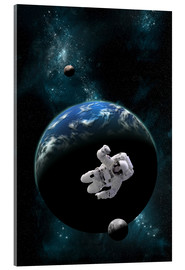 Tableau en verre acrylique  An astronaut floating in front of a water covered world with two moons. - Marc Ward