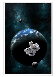 Poster  An astronaut floating in front of a water covered world with two moons. - Marc Ward