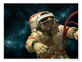Poster A cosmonaut against a background of stars.