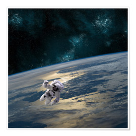 Poster An astronaut floating above Earth.