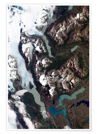 Poster  View of grinding glaciers and granite peaks in Chile's Torres del Paine National Park.