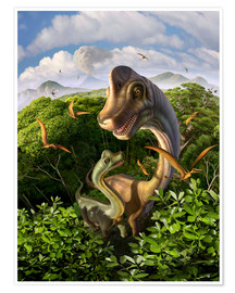 Jerry LoFaro - A Brachiosaurus with young above the treetops, surrounded by pterodactyls.
