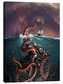 Tableau sur toile  A fantastical depiction of the legendary Kraken. - Jerry LoFaro