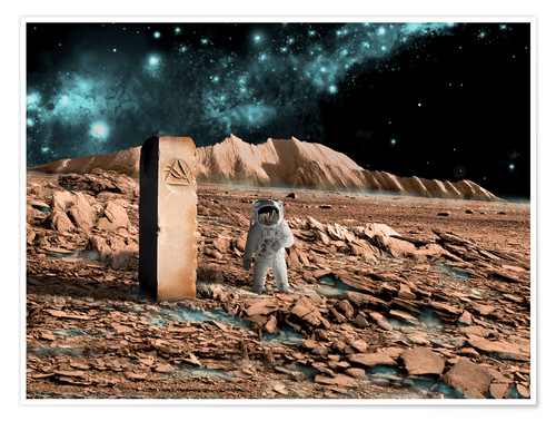 Poster Astronaut on an alien world discovers an artifact that indicates past intelligent life.