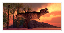 Poster A Tyrannosaurus rex dinosaur roars to claim his territory.