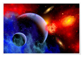 Poster A mixture of colorful stars, planets, nebulae and galaxies