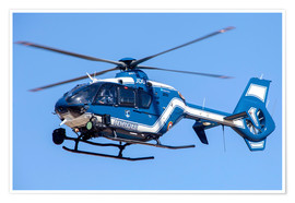 Poster  French police/gendarmerie EC135 helicopter in flight over France. - Timm Ziegenthaler
