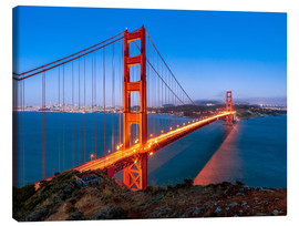 Tableau sur toile  Night shot of the Golden Gate Bridge in San Francisco California, USA - Jan Christopher Becke