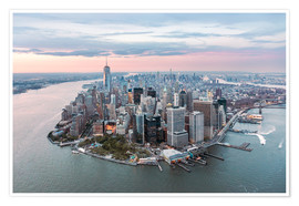 Poster  Aerial view of lower Manhattan with One World Trade Center at sunset, New York city, USA - Matteo Colombo