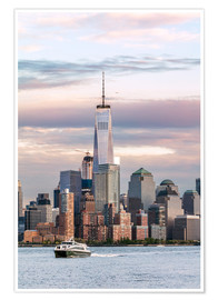 Poster  World Trade Center et Skyline de Manhattan au coucher du soleil - Matteo Colombo