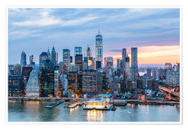 Poster  Freedom tower and lower Manhattan skyline at dusk, New York, USA - Matteo Colombo