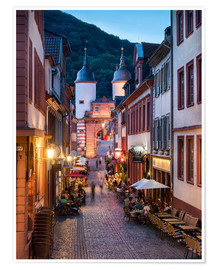 Poster  Romantic Old Town at night in Heidelberg, Germany - Jan Christopher Becke