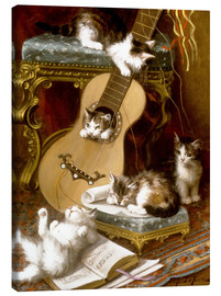 Tableau sur toile  Kittens at play with a guitar - Jules Le Roy