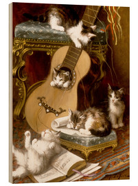 Tableau en bois  Kittens at play with a guitar - Jules Le Roy