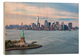 Bois  Aerial view of Statue of Liberty and World Trade Center at sunset, New York city, USA - Matteo Colombo
