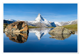 Poster Stellisee and Matterhorn in the Swiss Alps in summer