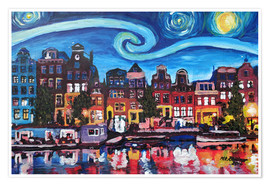 Poster  Starry Night over Amsterdam Canal with Van Gogh Inspirations - M. Bleichner