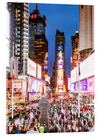 Tableau en verre acrylique  Times square at night illuminated by neon lights, New York city, USA - Matteo Colombo
