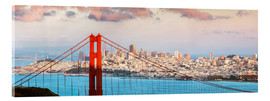 Tableau en verre acrylique  Panoramic sunset over Golden gate bridge and San Francisco bay, California, USA - Matteo Colombo