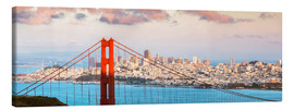 Tableau sur toile  Panoramic sunset over Golden gate bridge and San Francisco bay, California, USA - Matteo Colombo
