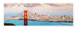 Poster  Panoramic sunset over Golden gate bridge and San Francisco bay, California, USA - Matteo Colombo