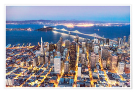 Poster  Aerial view of San Francisco downtown with Bay bridge at night, California, USA - Matteo Colombo
