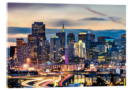 Verre acrylique  San Francisco downtown district skyline at night, California, USA - Matteo Colombo
