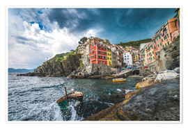 Poster Riomaggiore during a storm