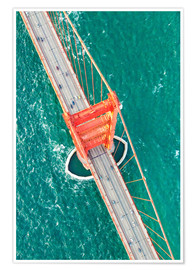 Poster  Aerial view of Golden gate bridge, San Francisco, California, USA - Matteo Colombo