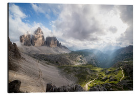 Tableau en aluminium  Dolomites-Three Peaks-Mountain Panorama - Sebastian Jakob