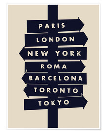 Poster City signs travel locations art print