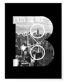 Poster Enjoy the ride bicycle graphic monogram