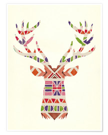 Poster  Ethnic native deer Ikat wild animal - Nory Glory Prints