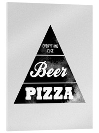 Tableau en verre acrylique  Food graphic beer pizza logo parody - Nory Glory Prints