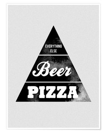 Poster Food graphic beer pizza logo parody