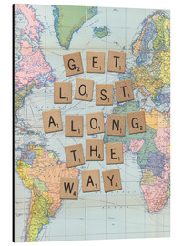 Tableau en aluminium  Get lost along the way scrabble letters art - Nory Glory Prints