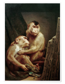 Poster  The art critic - two monkeys look at a painting - Gabriel von Max